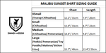 Malibu Sunset Shirt - Sizing Guide. Orange, Yellow and Blue Plaid Shirt