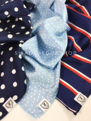 Take an advantage of 3 for $30 deal. 3 Blue Color Theme Swagdana Scarves displayed. 1-Polka Dot Navy. 2-Polka Itty Bitty Powder Blue. 3-Afternoon in Paris. Dog Bandana. Dog Scarf
