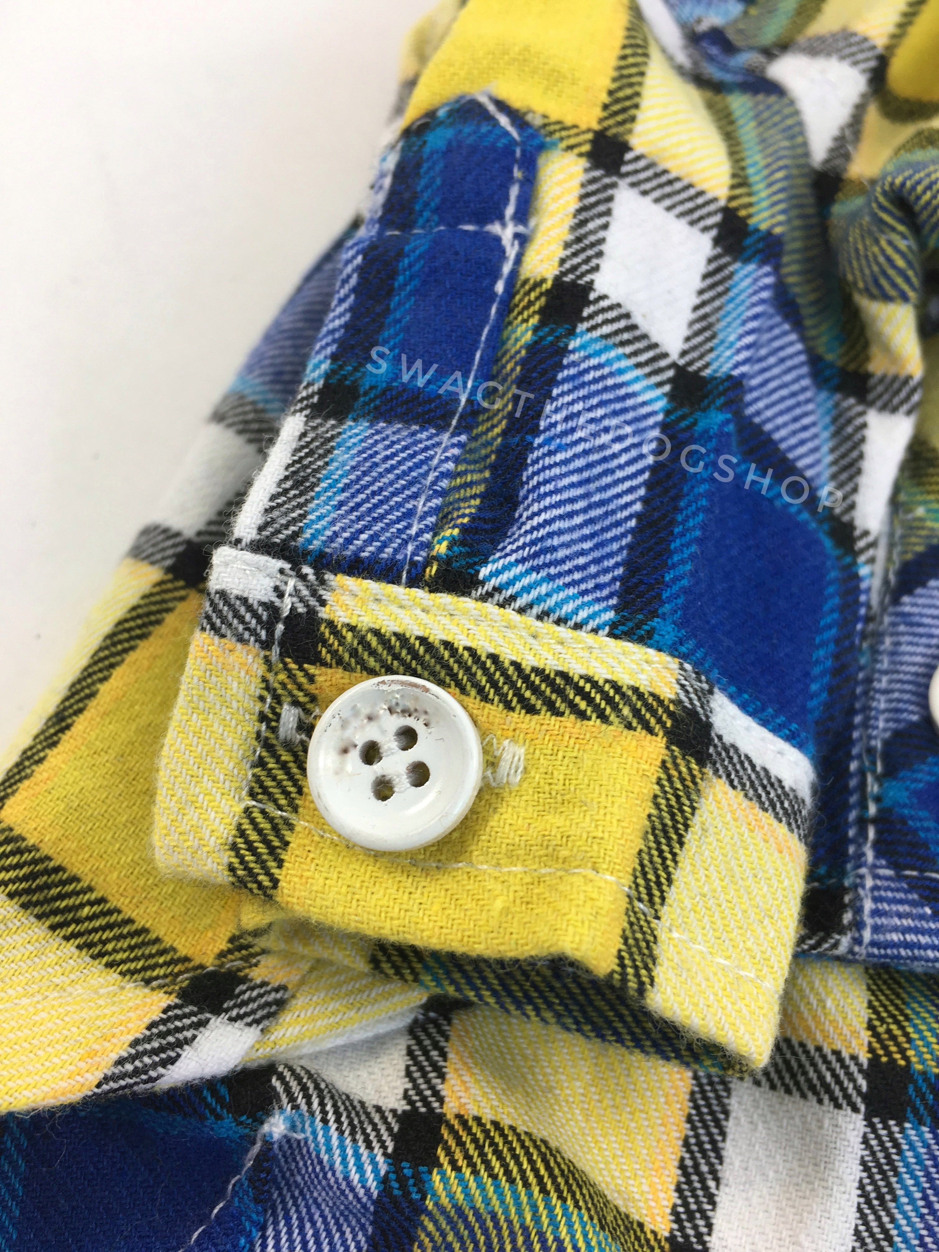 Royal Yellow Plaid Shirt - Close Up View of Sleeve. Royal Blue and Yellow Plaid Shirt