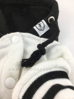 Parklife Black and White Sports Hoodie - Close Up View of Label and Hood. Black and White Sports Hoodie