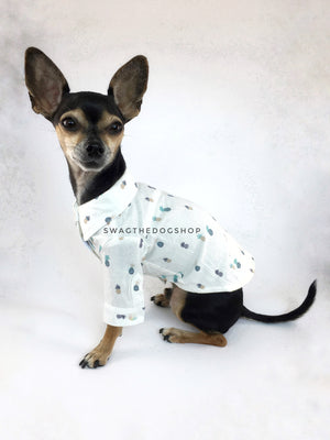 Pineapple Express Shirt - Side View of Cute Chihuahua Dog Wearing Shirt. Pineapple Print Shirt