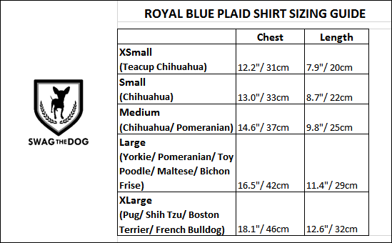 Royal Yellow Plaid Shirt - Sizing Guide. Royal Blue and Yellow Plaid Shirt