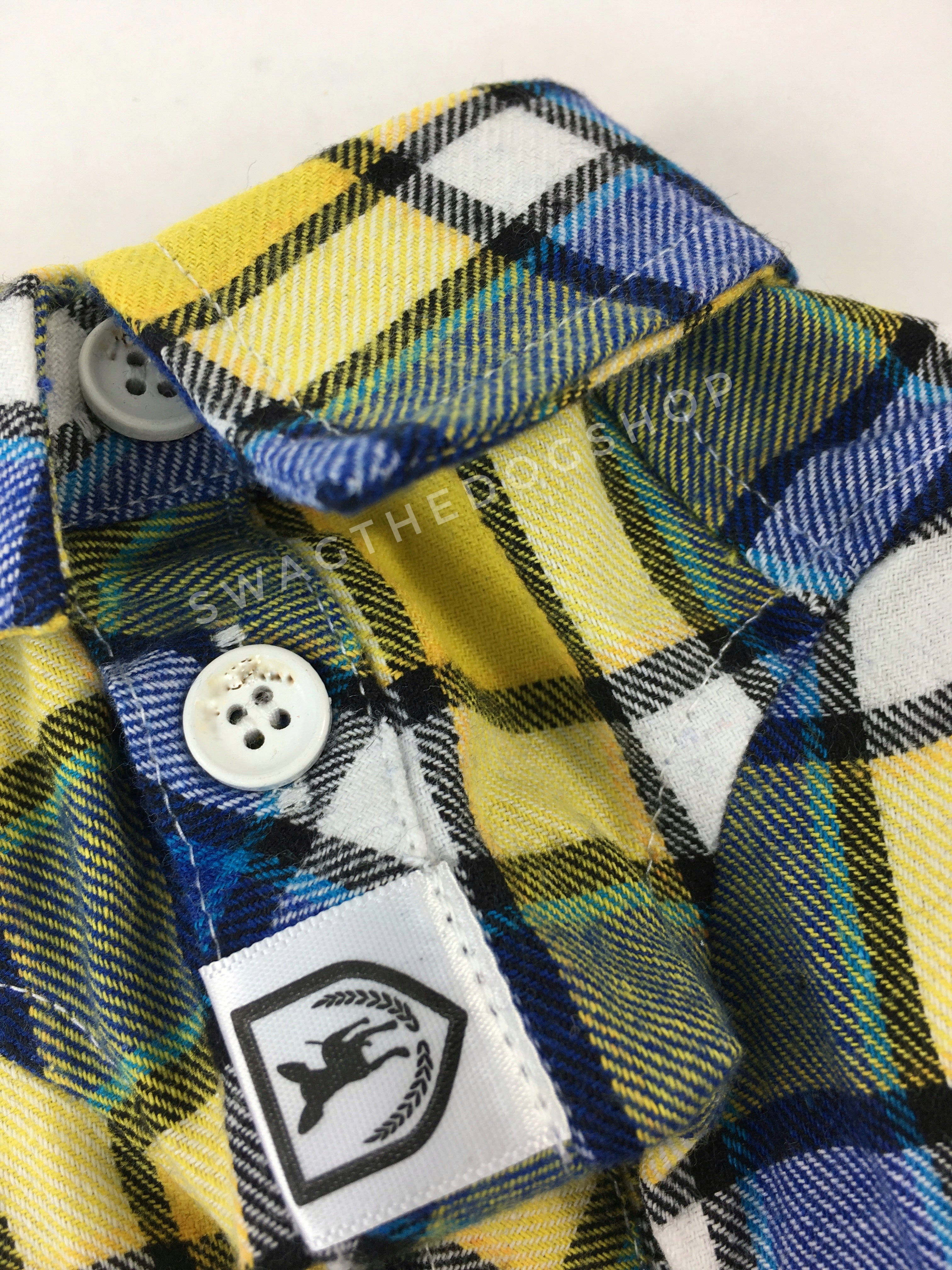 Royal Yellow Plaid Shirt - Close Up View of Label and Collar. Royal Blue and Yellow Plaid Shirt