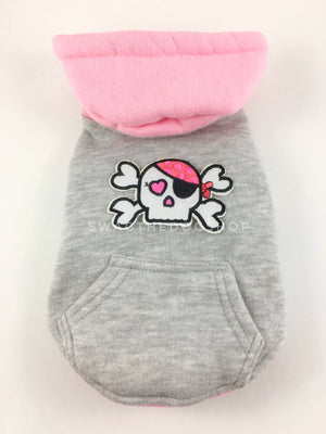 Parklife Pink and Gray Sports Hoodie - Patch Option of Badass Skull with Pink Eye patch. Pink and Gray Sports Hoodie