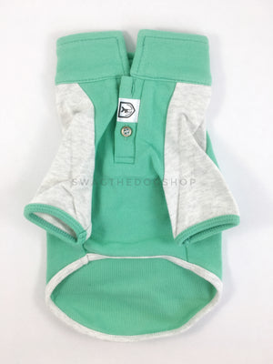 Surfside Emerald Green Polo Shirt - Product Front View. Emerald Green with Light Gray Sleeves Polo Shirt