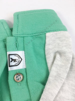 Surfside Emerald Green Polo Shirt - Close Up View of Label and Collar. Emerald Green with Light Gray Sleeves Polo Shirt