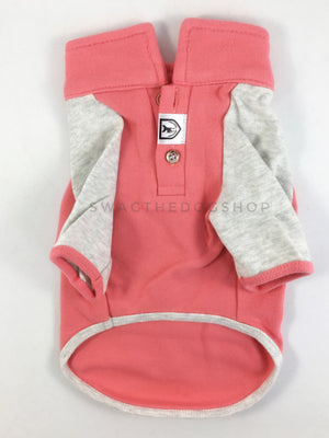 Surfside Salmon Pink Polo Shirt - Product Front View. Salmon Pink with Light Gray Sleeves Polo Shirt