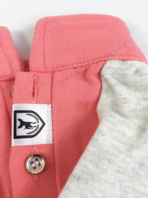 Surfside Salmon Pink Polo Shirt - Close Up View of Label and Collar. Salmon Pink with Light Gray Sleeves Polo Shirt