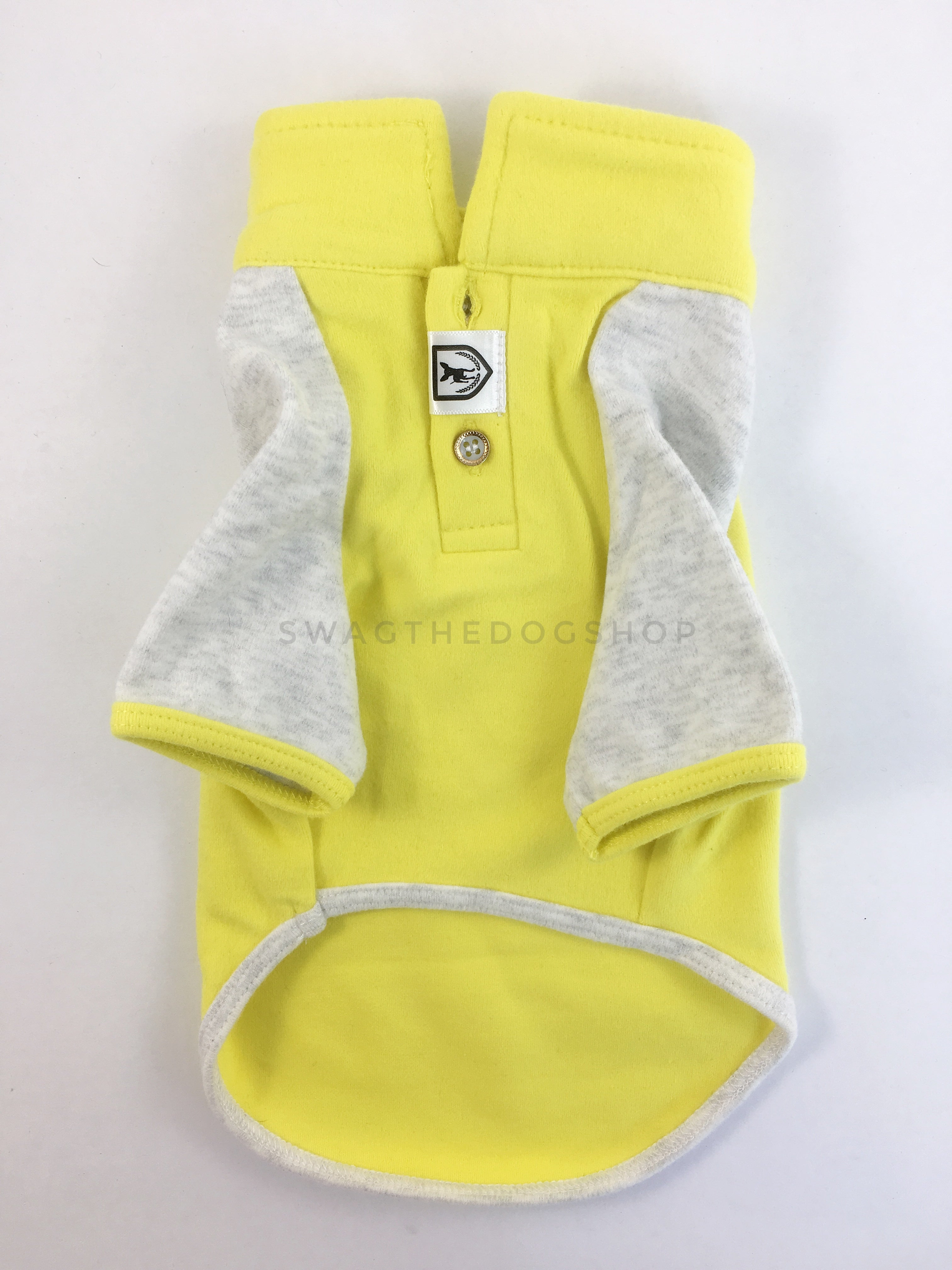 Surfside Lemon Yellow Polo Shirt - Product Front View. Lemon Yellow with Light Gray Sleeves Polo Shirt