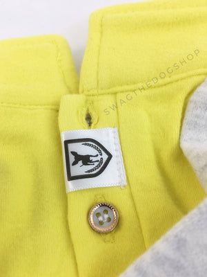 Surfside Lemon Yellow Polo Shirt - Close Up View of Label and Collar. Lemon Yellow with Light Gray Sleeves Polo Shirt