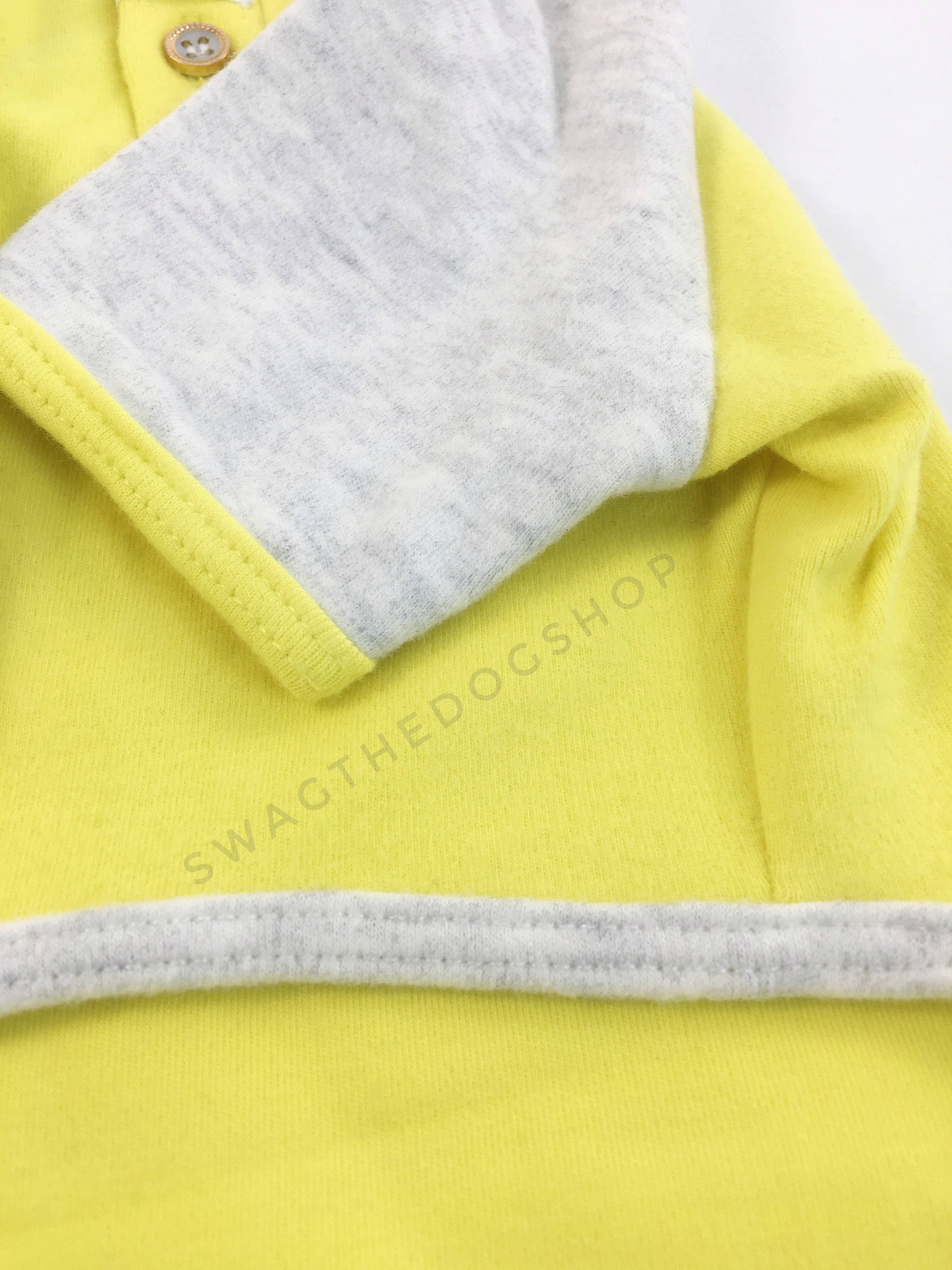 Surfside Lemon Yellow Polo Shirt - Close Up View of Sleeve. Lemon Yellow with Light Gray Sleeves Polo Shirt