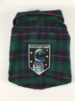 True North Green Plaid Shirt - Patch Option of Space Explorer on the Back. Green Plaid Shirt