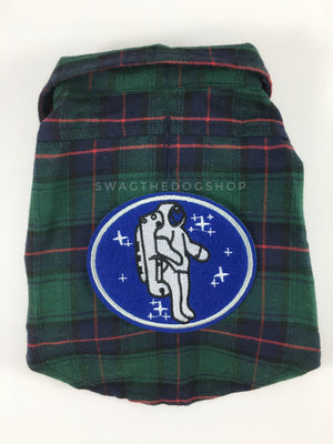 True North Green Plaid Shirt - Patch Option of Astronaut on the Back. Green Plaid Shirt