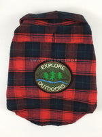 True North Red Plaid Shirt - Patch Option of Explore Outdoor on the Back. Red Plaid Shirt