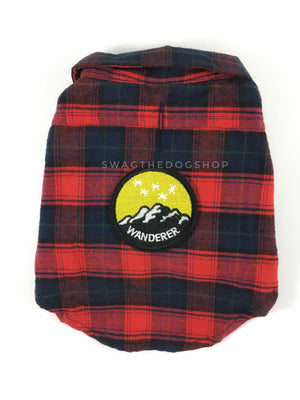 True North Red Plaid Shirt - Patch Option of Wanderer on the Back. Red Plaid Shirt