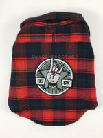 True North Red Plaid Shirt - Patch Option of Rock N Roll on the Back. Red Plaid Shirt