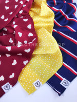 Take an advantage of 3 for $30 deal. 3 Red/ Yellow/ Blue color theme Swagdana Scarves displayed. 1-Full of Heart Burgundy Cream. 2-Polka Itty Bitty Sunny Yellow. 3-Afternoon in Paris. Dog Bandana. Dog Scarf