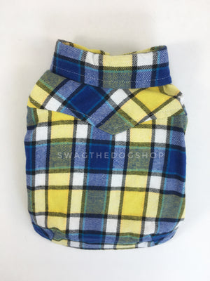 Royal Yellow Plaid Shirt - Product Back View. Royal Blue and Yellow Plaid Shirt