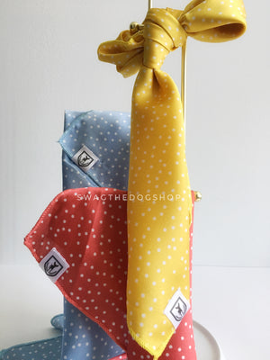 Take an advantage of 3 for $30. 3 Polka Itty Bitty Swagdana Scarves Displayed. 1-Polka Itty Bitty Powder Blue. 3-Polka Itty Bitty Coral. 3-Polka Itty Bitty Sunny Yellow. Dog Bandana. Dog Scarf.