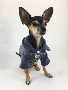 Yachtsman Navy Shirt - Full Front View of Cute Chihuahua Dog Wearing Shirt. Navy Shirt with Fleece Inside