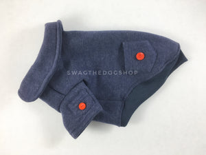 Yachtsman Navy Shirt - Product Side View. Navy Shirt with Fleece Inside