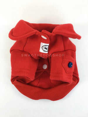 Yachtsman Red Shirt - Product Front View. Red Shirt with Fleece Inside