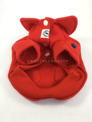 Yachtsman Red Shirt - Product Front View from Below. Red Shirt with Fleece Inside