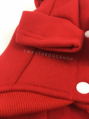 Yachtsman Red Shirt - Close Up View of Sleeve. Red Shirt with Fleece Inside
