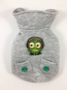 Yachtsman Heather Gray Shirt - Patch Add-on of Green DJ Owl on the Back. Heather Gray Shirt with Fleece Inside