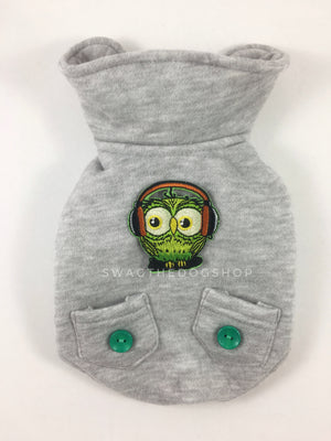 Yachtsman Heather Gray Shirt - Patch Option of Green DJ Owl on the Back. Heather Gray Shirt with Fleece Inside