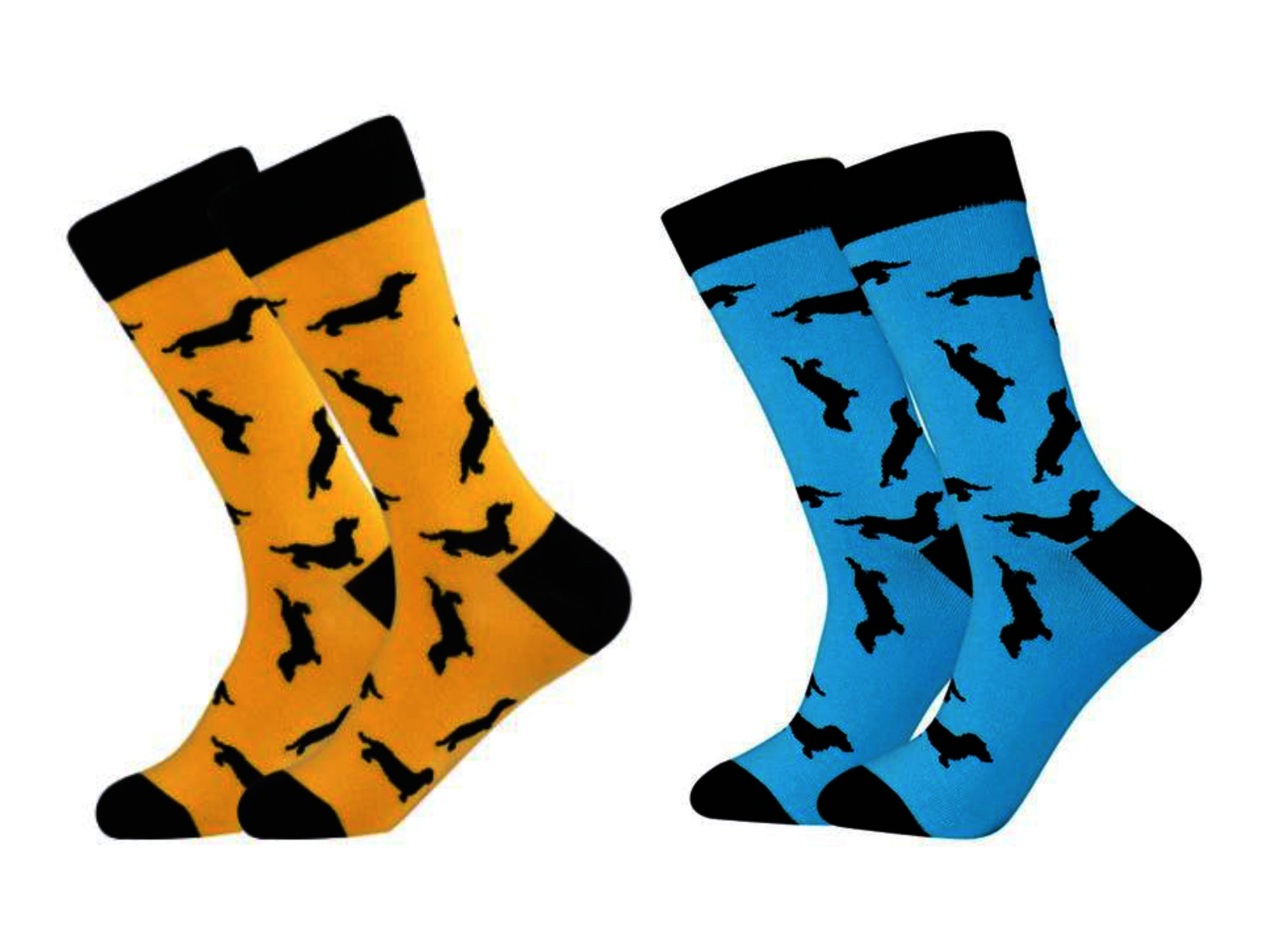 Dachshund Dog Socks. Dachshund Dog Black Print in Yellow socks and Blue socks.