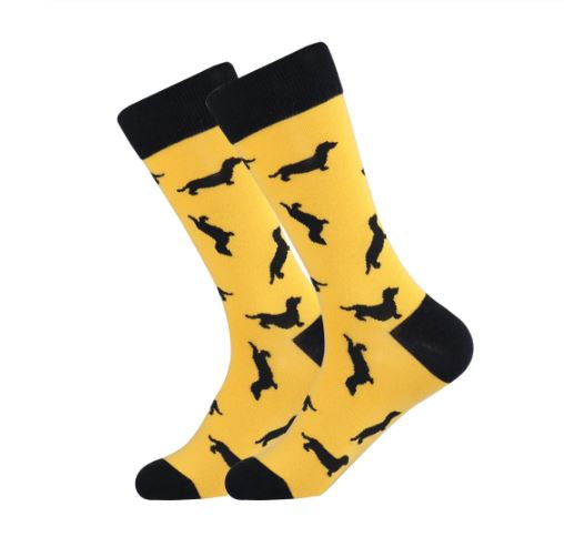 Dachshund Dog Socks. This one in Yellow socks with Dachshund dog print in black.