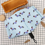 Dapper Striped Dachshund Dog Print Baby Blue Umbrella