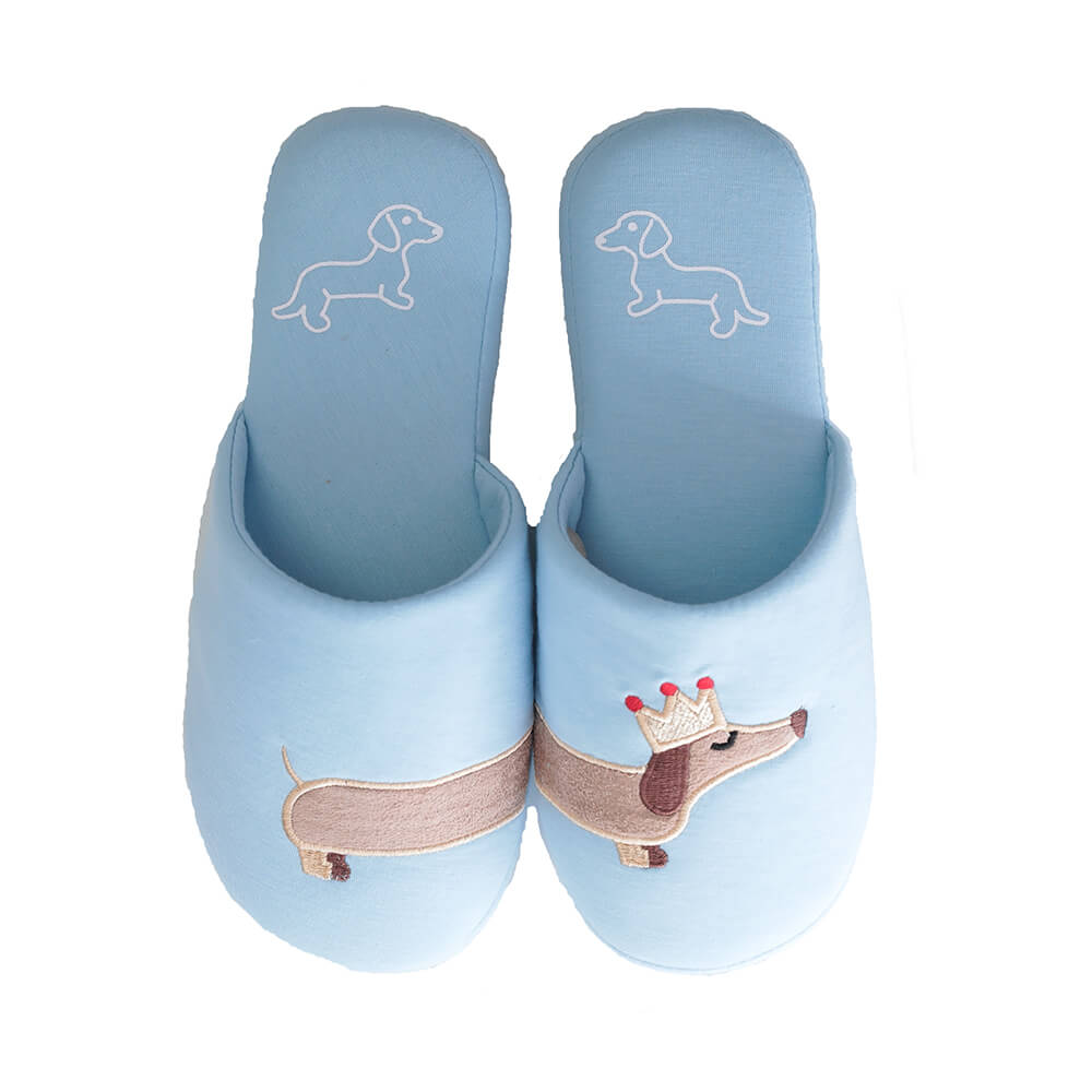 Blue Plush House Slippers with Dachshund wearing a crown embroidery on top.