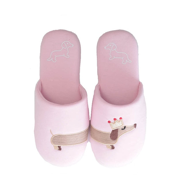 Pink Plush House Slippers with Dachshund wearing a crown embroidery on top.