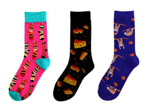 Three selection of funky socks. 1-Hanging striped socks print on pink socks. 2-Block of Cheese print on black socks. 3-Sloth hanging from branches print on purple socks.