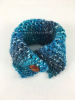 Blue Lagoon Swagsnood - Product Above View. Spectrum of Blue Color Dog Snood with Accent Button