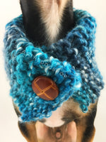 Blue Lagoon Swagsnood - Close Up Neck View of Cute Chihuahua Dog Wearing Spectrum of Blue Color Dog Snood with Accent Button