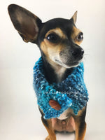 Blue Lagoon Swagsnood - Close Up View of Cute Chihuahua Dog Wearing Spectrum of Blue Color Dog Snood with Accent Button