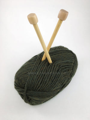 Army Green Swagsnood - Close Up View of Yarn. Army Green Color Dog Snood with Accent Button