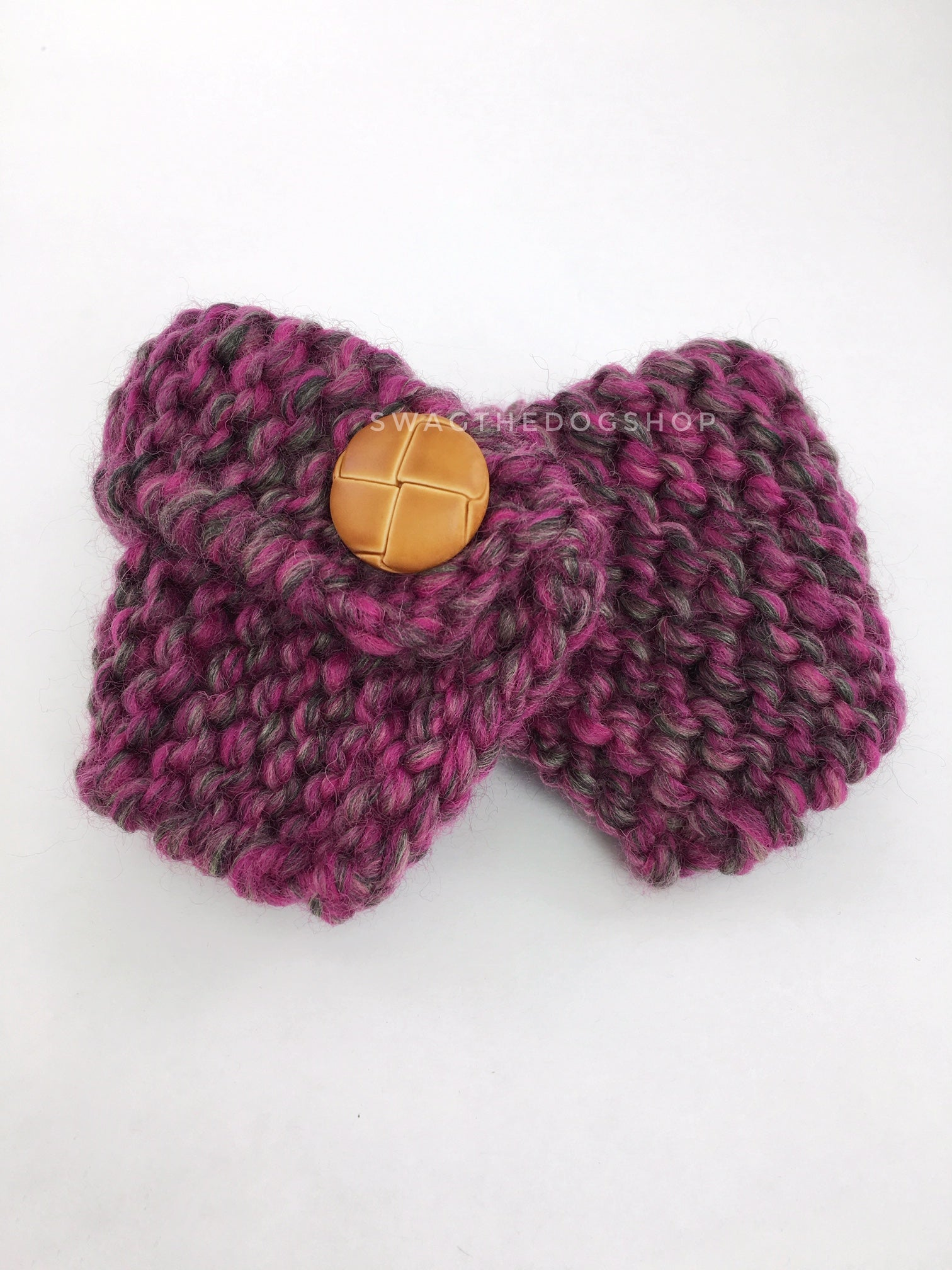 Berries Swagsnood - Product Front View. Pink Gray Mixed Color Dog Snood with Accent Button