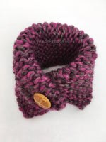 Berries Swagsnood - Product Above View. Pink Gray Mixed Color Dog Snood with Accent Button