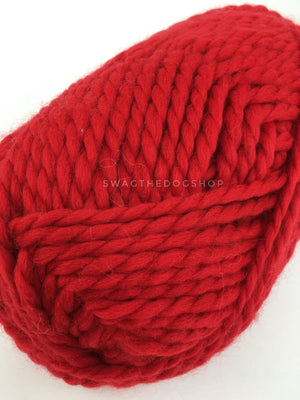 Christmas Red Swagsnood - Close Up View of Yarn. Bright Red Color Dog Snood with Accent Button