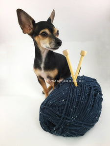 Denim Blue Tweed Swagsnood - Yarn with Cute Chihuahua Dog. Dark Denim Color with White Speck Tweed Dog Snood with Accent Button