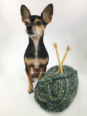 Galaxy Sparkle Swagsnood - Yarn with Cute Chihuahua Dog. Spectrum of Green Color Dog Snood with Accent Button