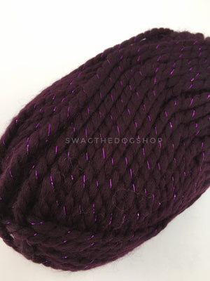 Galaxy Sparkle Swagsnood - Close Up View of Yarn. Dark Purple with Sparkle Thread Color Dog Snood with Accent Button