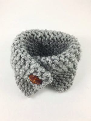Heather Light Gray Swagsnood - Product Above View. Heather Light Gray Color Dog Snood with Accent Button