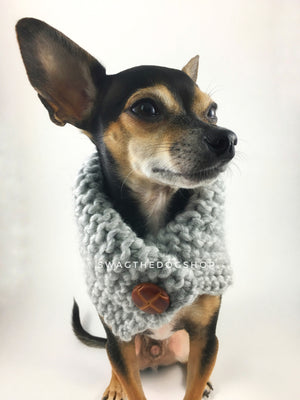 Heather Light Gray Swagsnood - Close Up View of Cute Chihuahua Dog Wearing Heather Grey Color Dog Snood with Accent Button