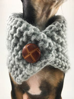 Heather Light Gray Swagsnood - Close Up Neck View of Cute Chihuahua Dog Wearing Heather Light Gray Color Dog Snood with Accent Button