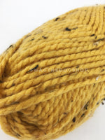 Honey Mustard Tweed Swagsnood - Close Up View of Yarn. Honey Mustard Color with Black Speck Tweed Dog Snood with Accent Button